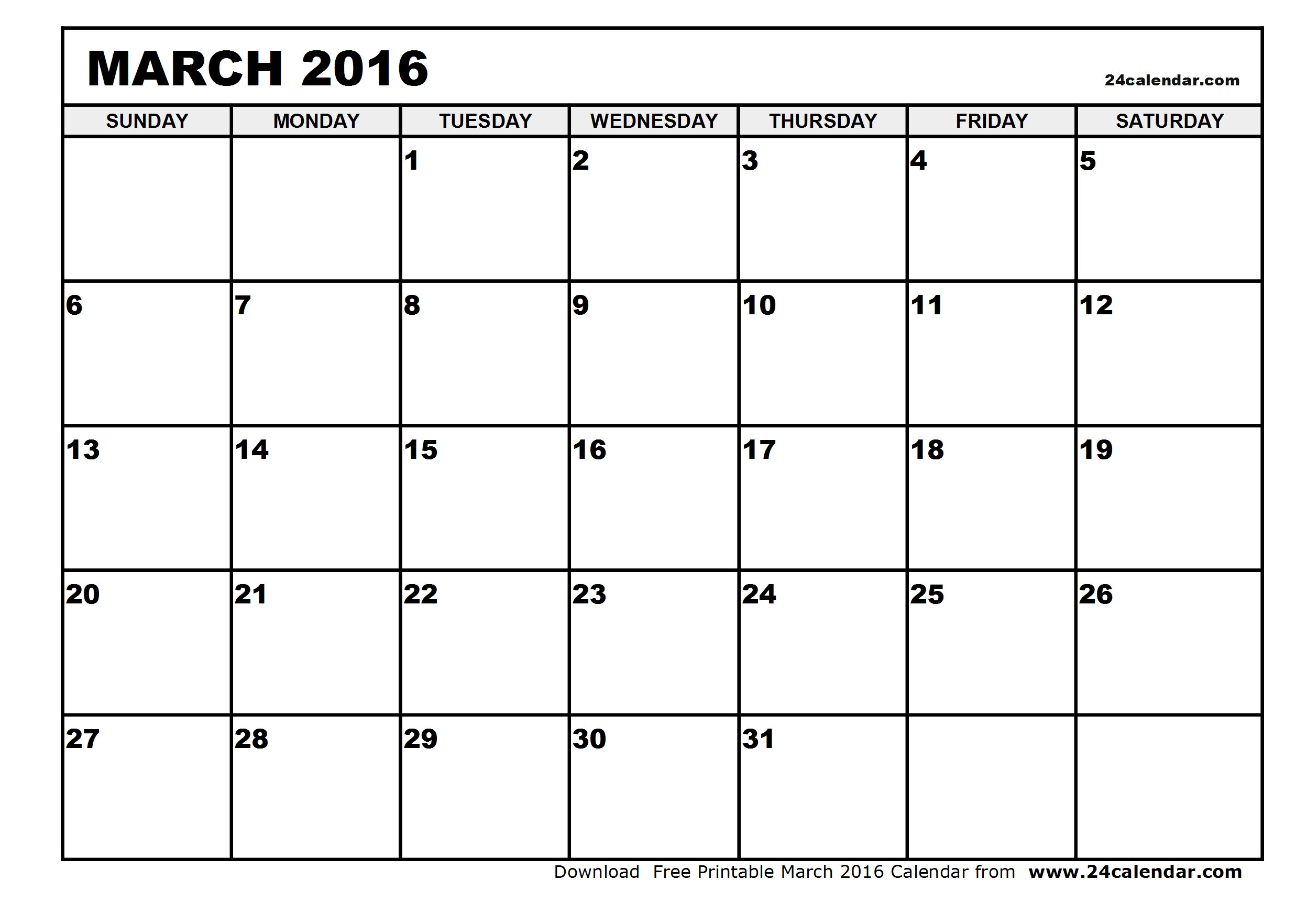 6 Images of Blank Printable Calendars 2016