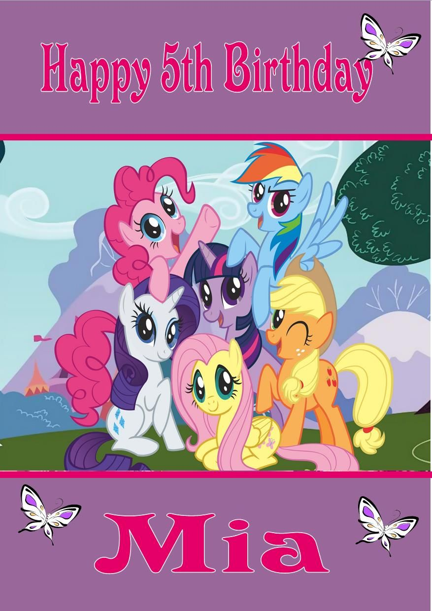 4 Images of My Little Pony Birthday Card Printable
