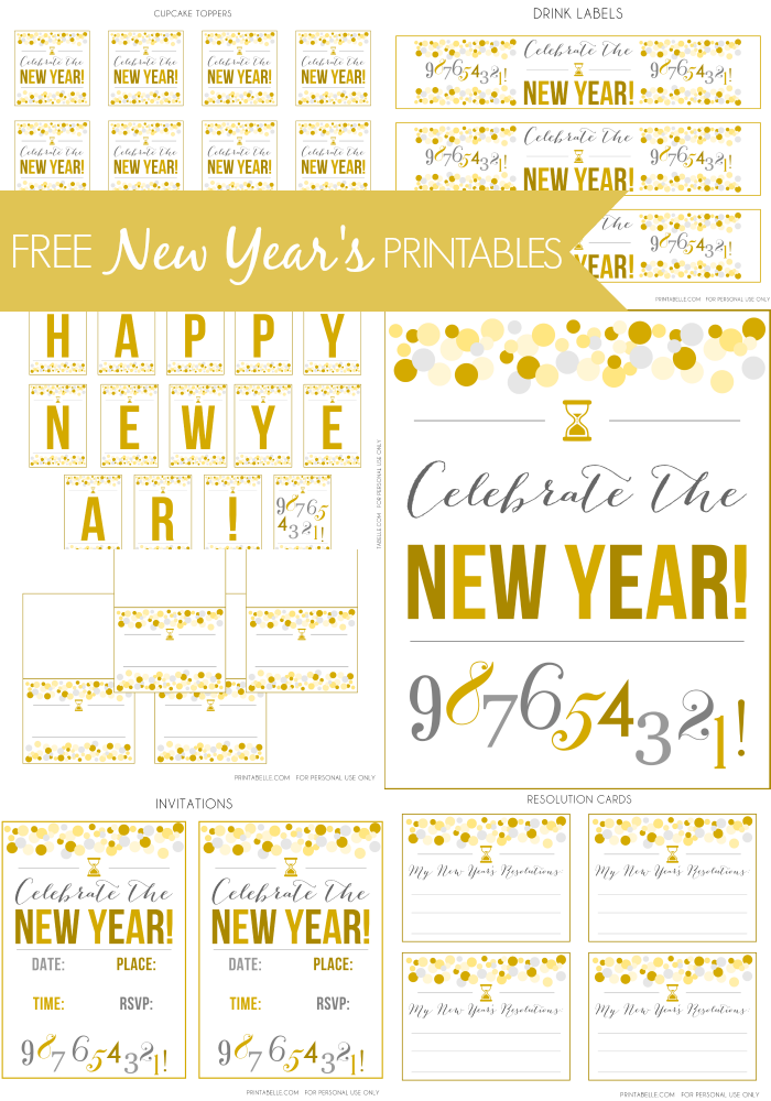 6 Images of New Year's Eve Printables 2013 Free