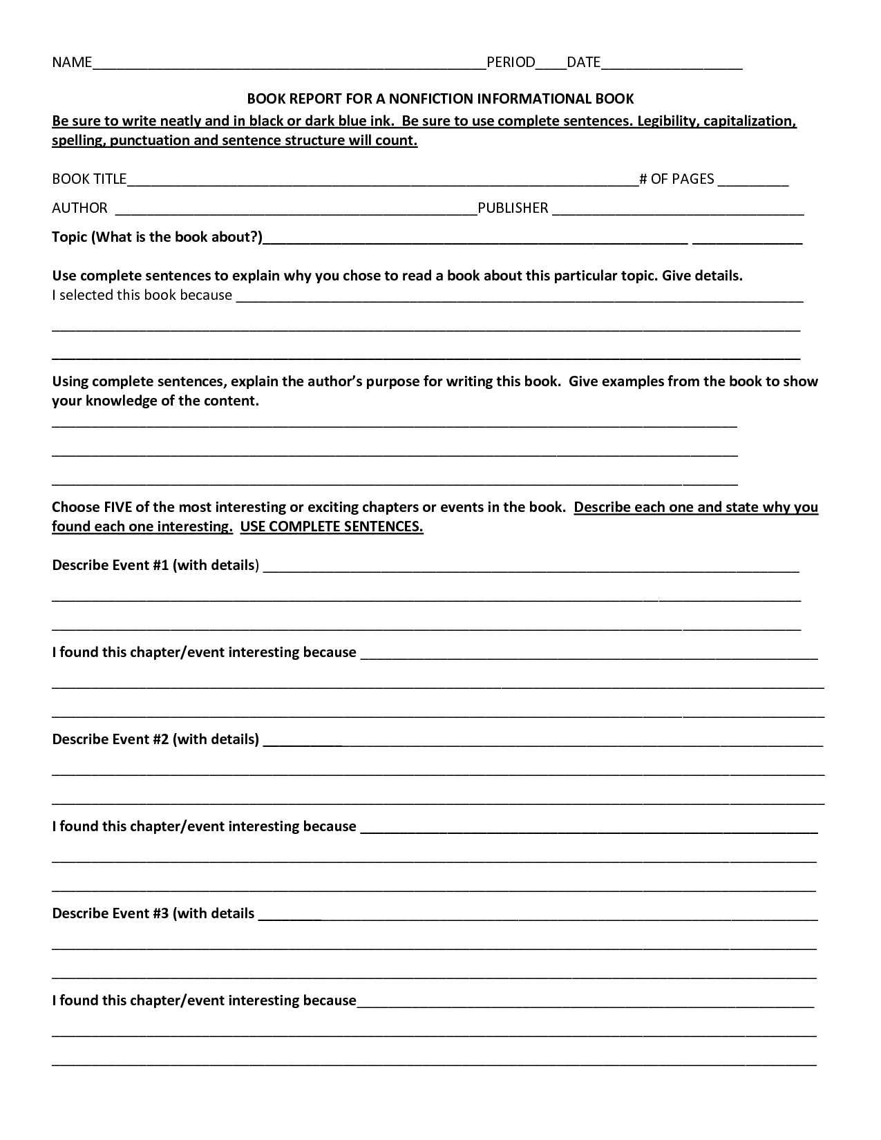 printable book report forms for 4th grade book report