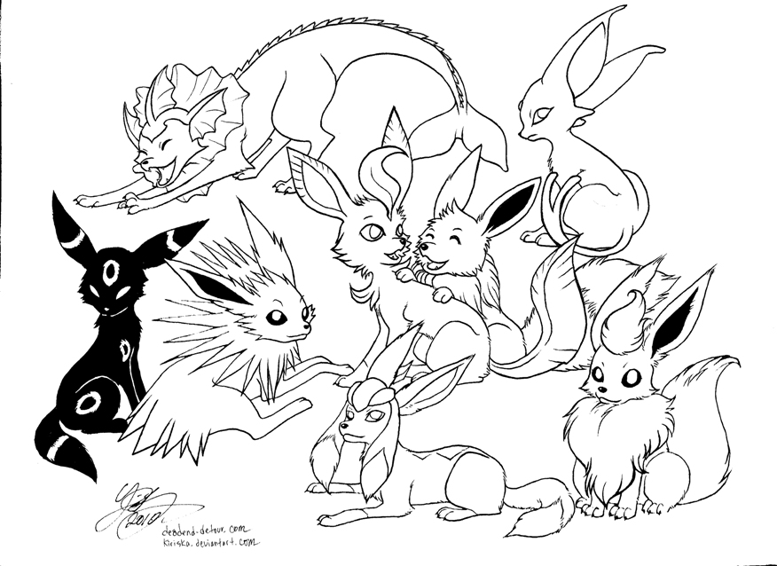 7 Images of Pokemon Eevee Evolutions Coloring Pages Printable