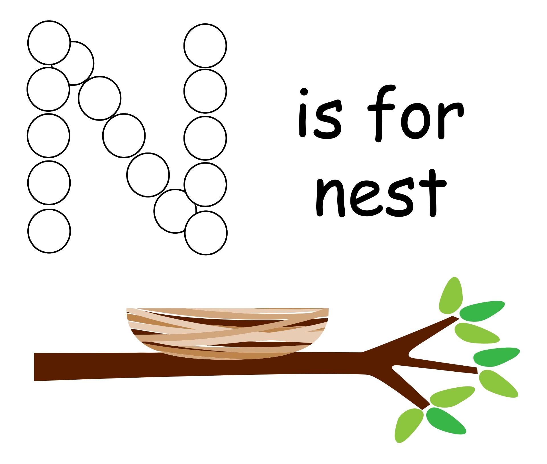 Preschool Activities Letter N Nest