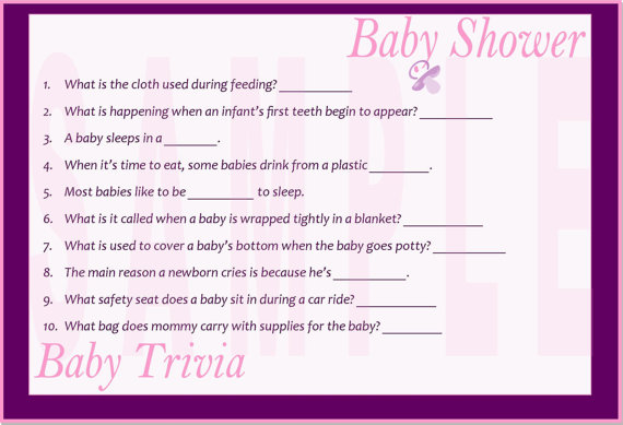 7 Images of Printable Baby Shower Trivia