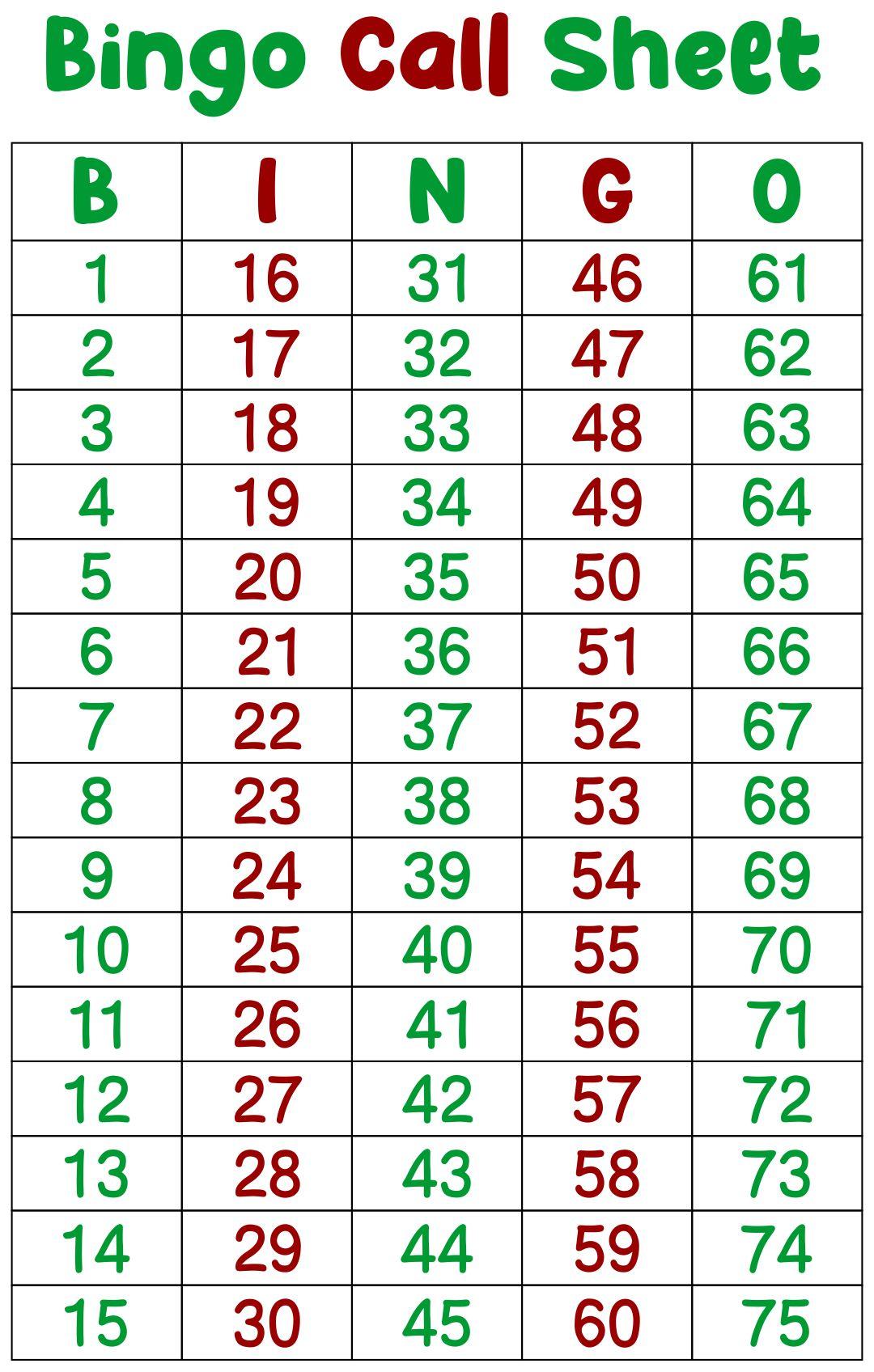 Printable Bingo Call Sheet