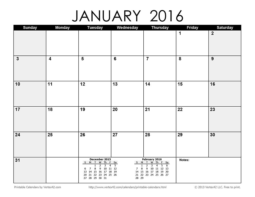 6 best images of blank printable calendars 2016