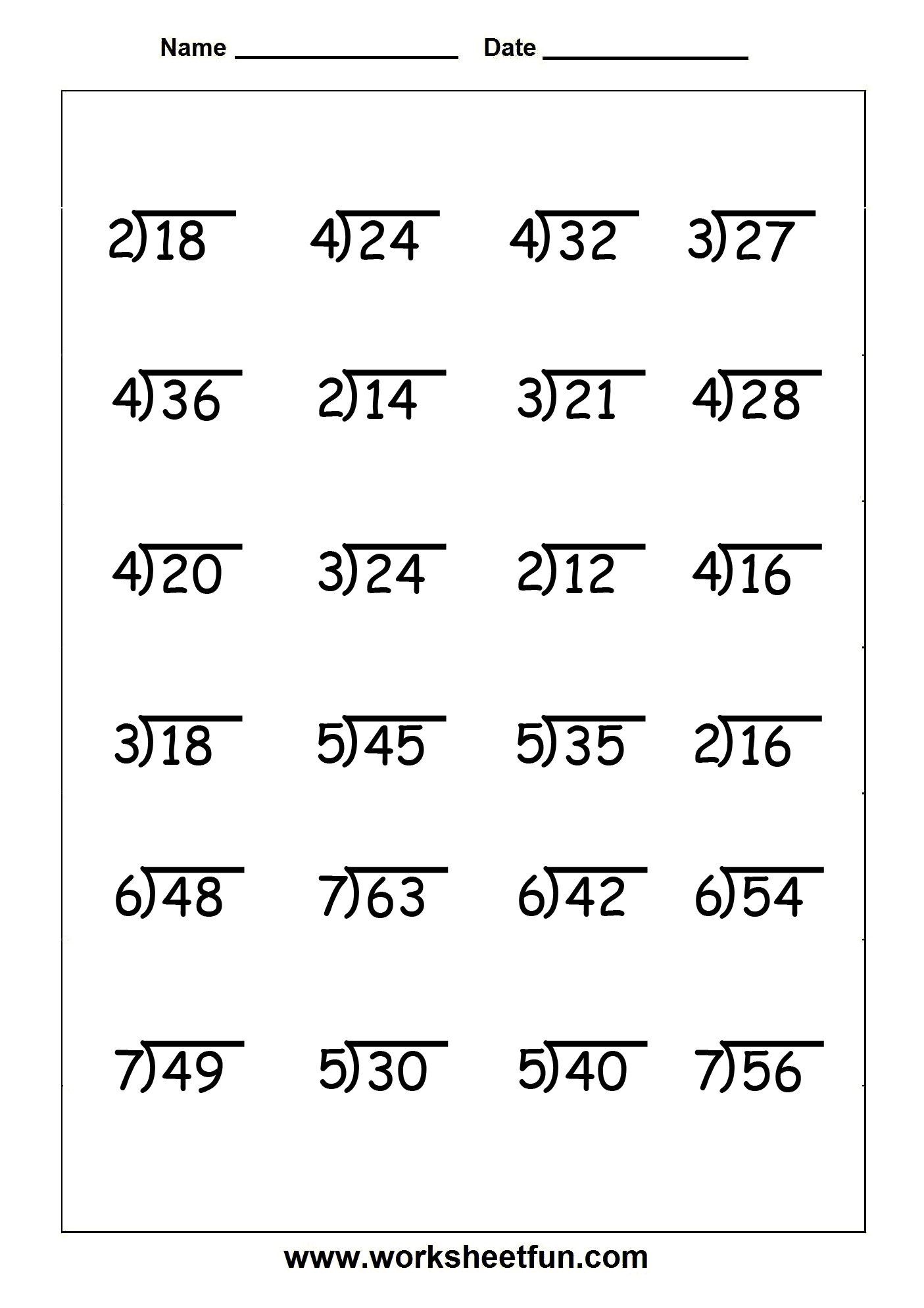 6 Images of Printable Division Worksheets