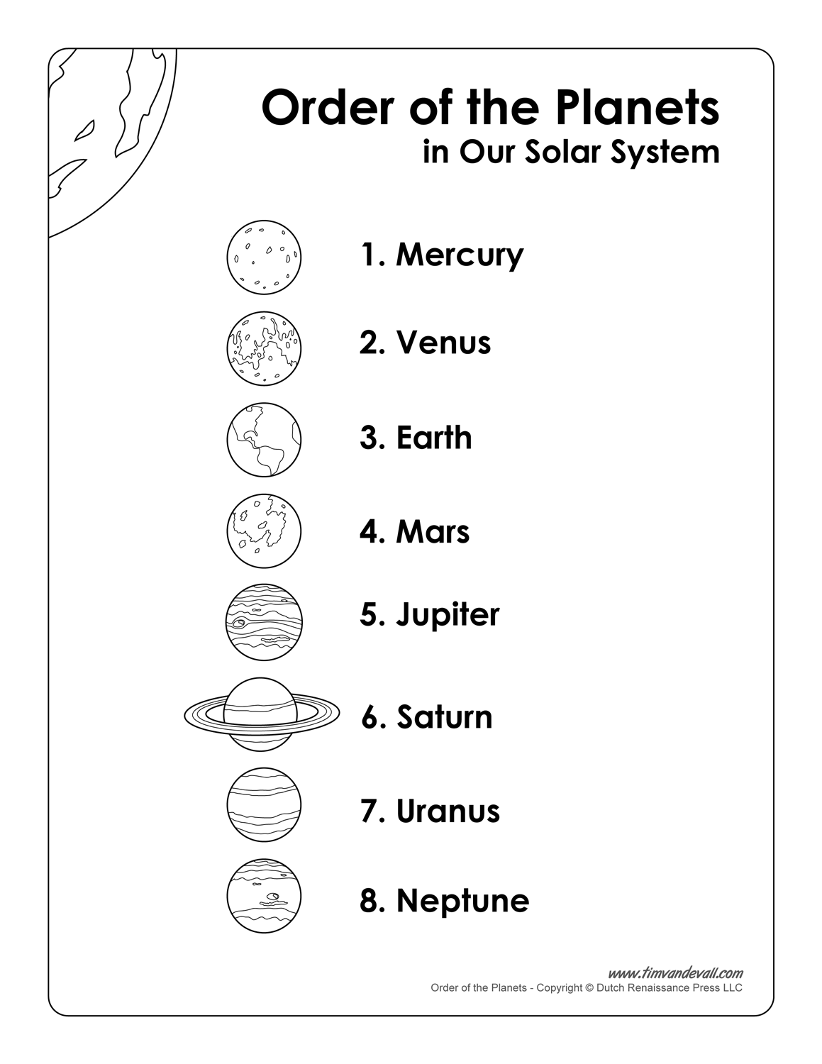 Printable List of Planets in Order