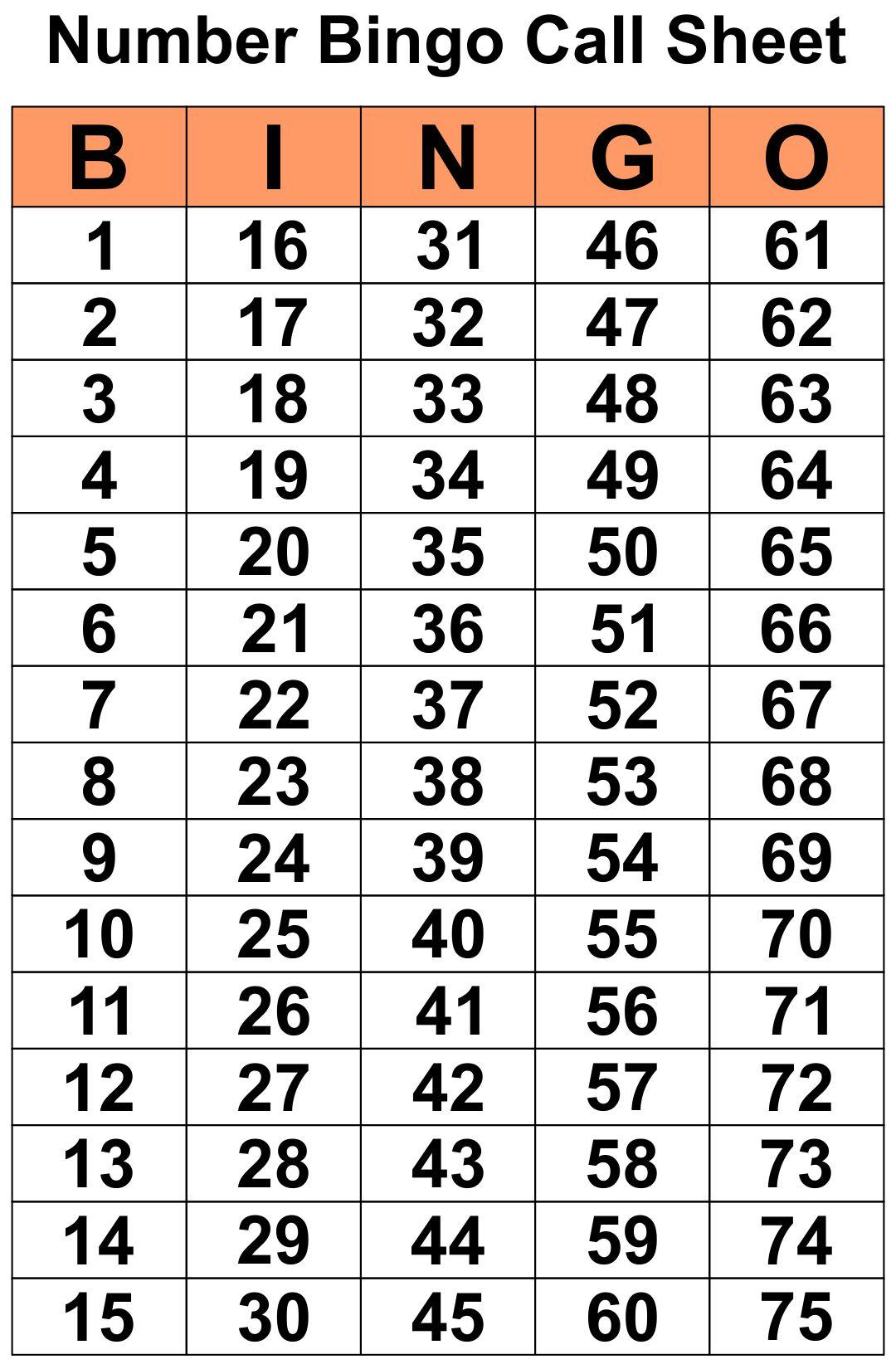 Printable Number Bingo Call Sheet