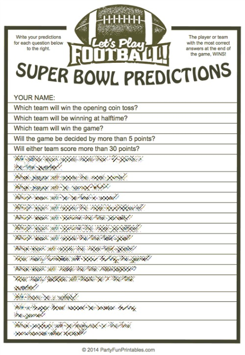 8 Images of Super Bowl Trivia Printable Games
