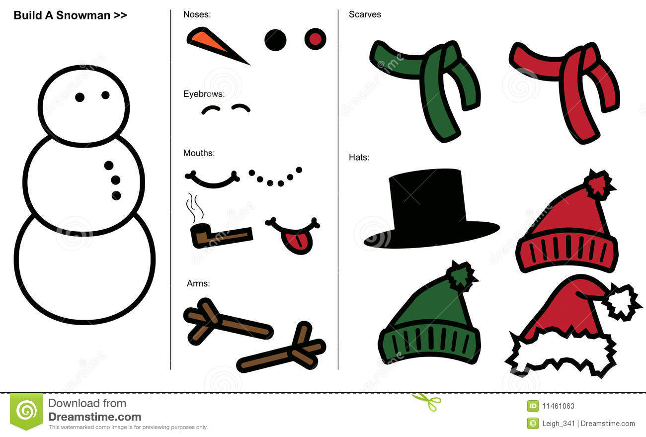 of Printable Snowman Mouth - Snowman Hat and Scarf Template, Snowman ...