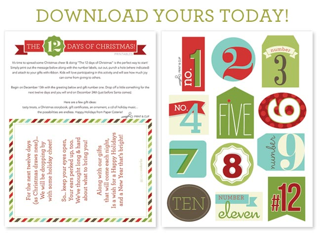 6 Images of Free Christmas Printables 12 Days