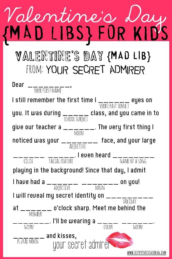 7 Images of Valentine Mad Libs Printable