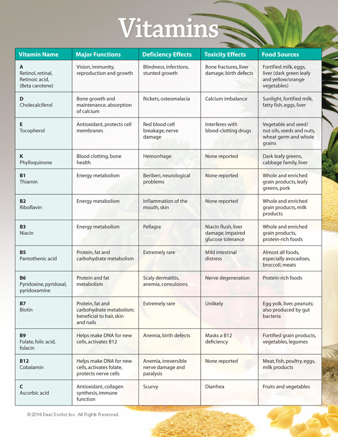 6 Images of Printable Vitamin Chart