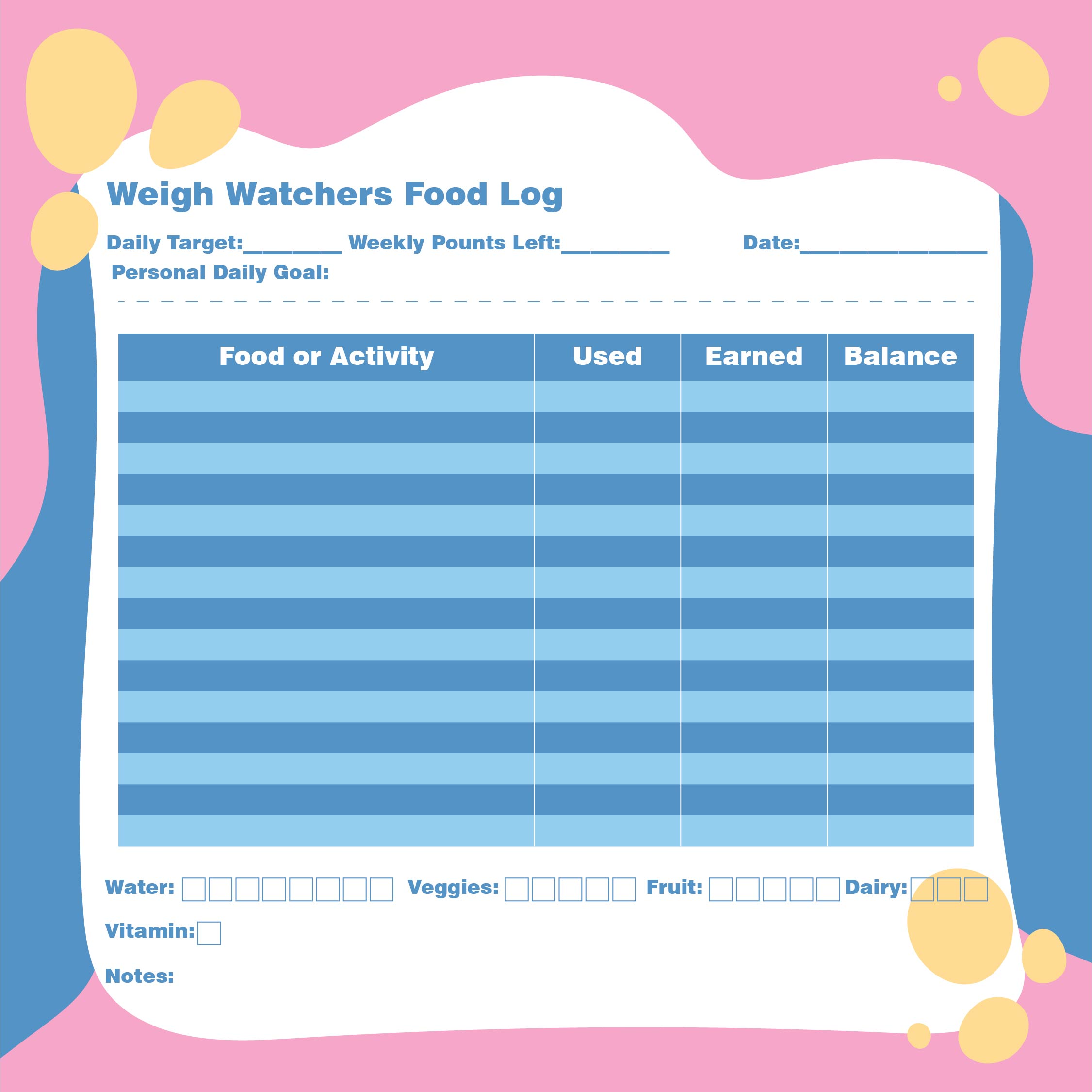 Weight Watchers Food Log Printable