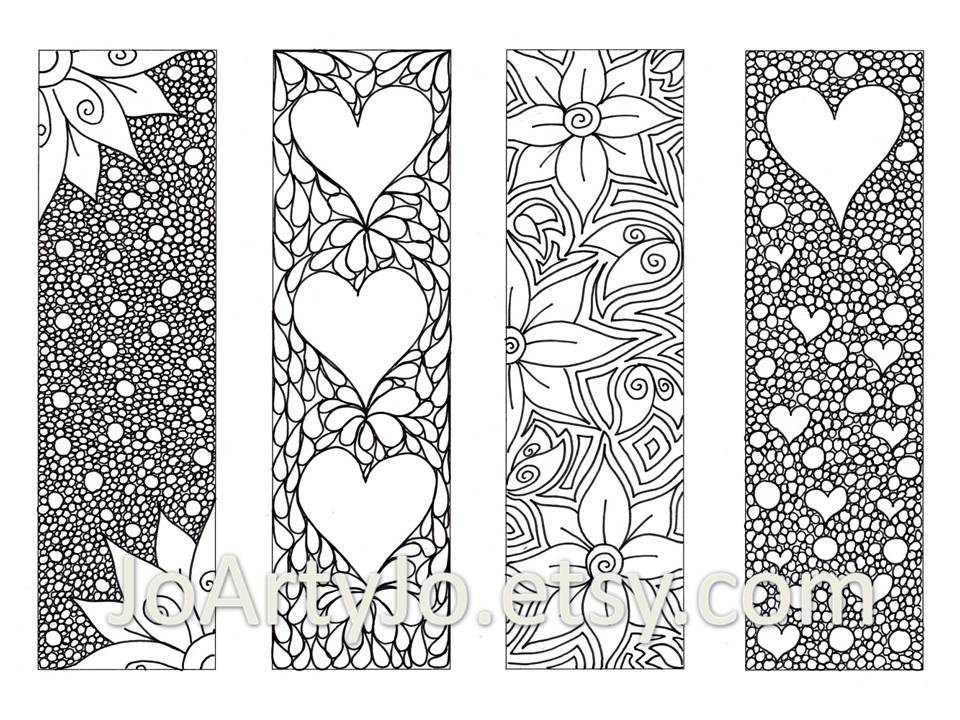 8 Images of Free Zentangle Printable Bookmarks To Color
