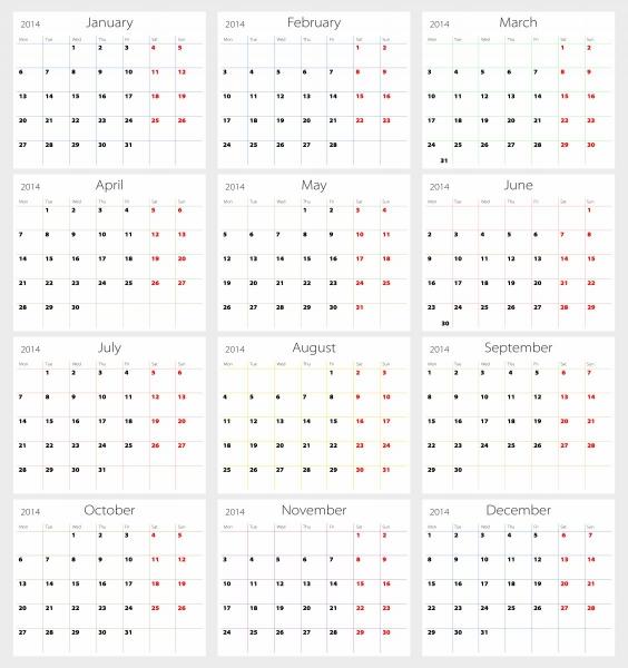 12 Month Calendar Template 2015