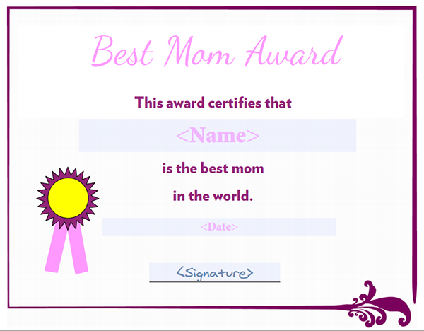 6 Images of Printable Best Mom Award