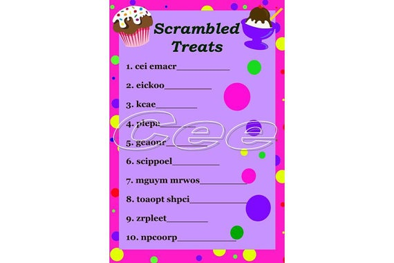 Birthday Word Scramble Printable