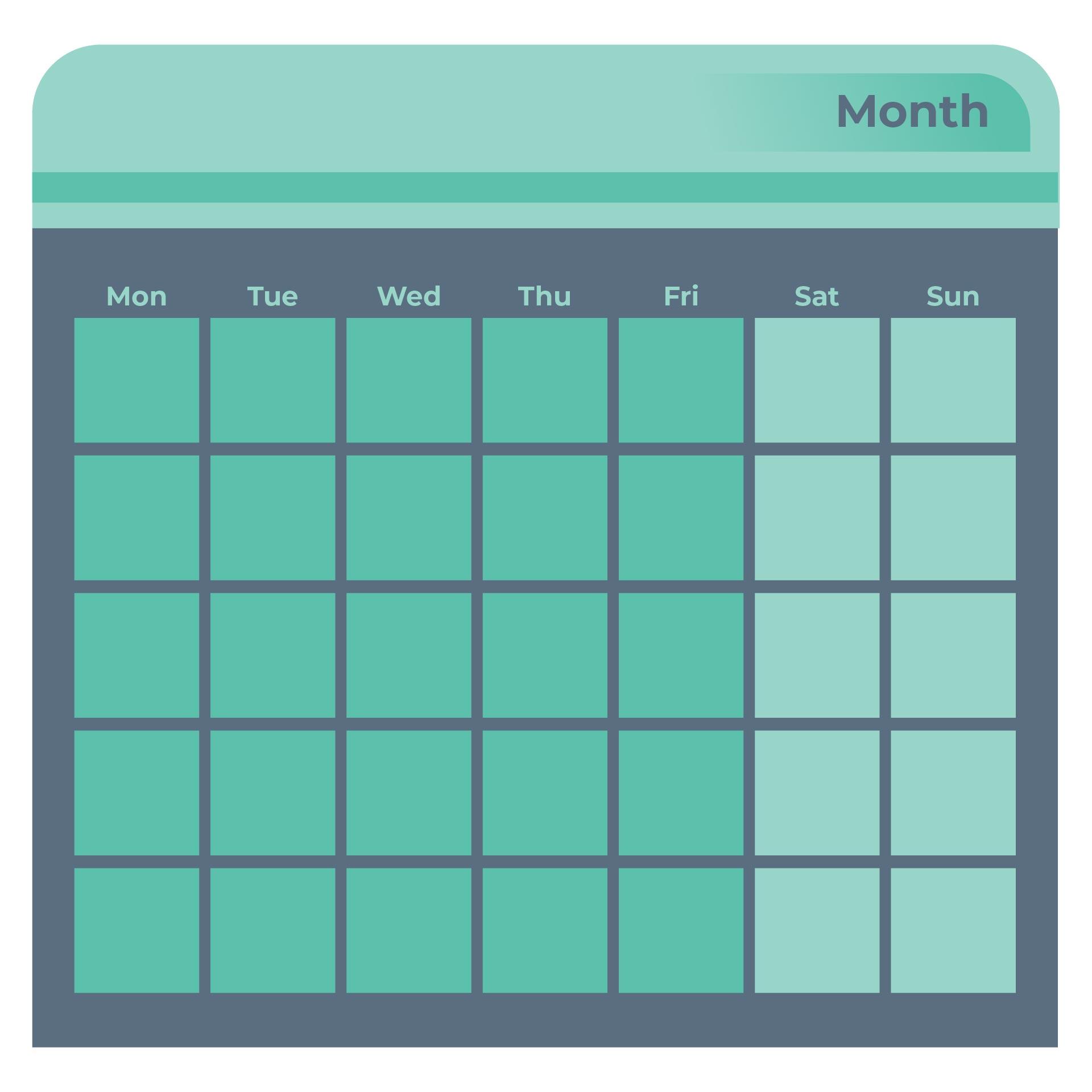 Blank Monday through Friday Printable Calendar