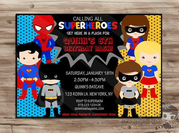 7 Images of Printable Superhero Invitation For Boys