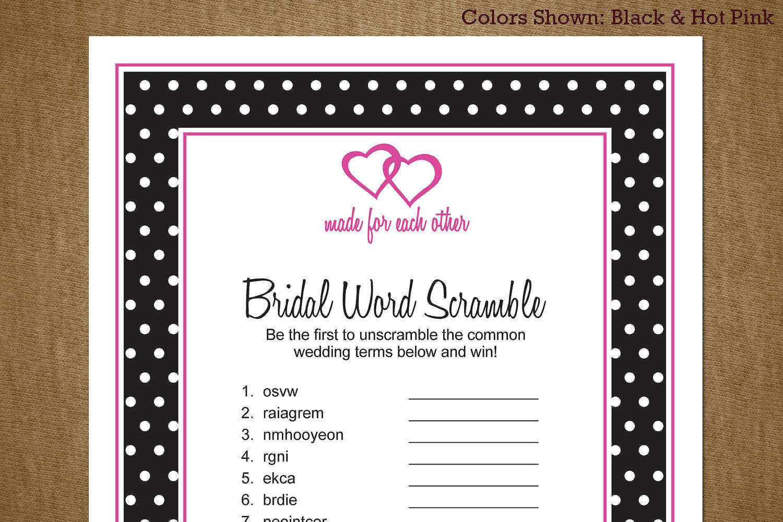 8 Images of Printable Bridal Word Scramble