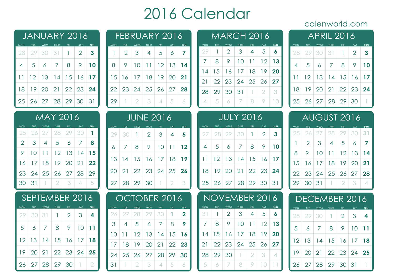 8 Images of 2016 Calendar Printable Free Download
