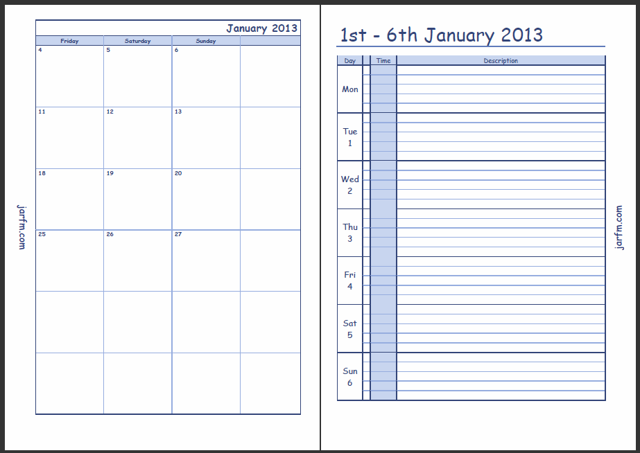 Calendar Weekly with Time Slots