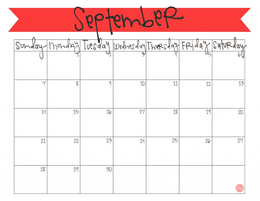 7 Images of Cute Printable Calendar September 2014