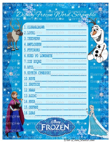 Disney Frozen Birthday Party Word Scramble