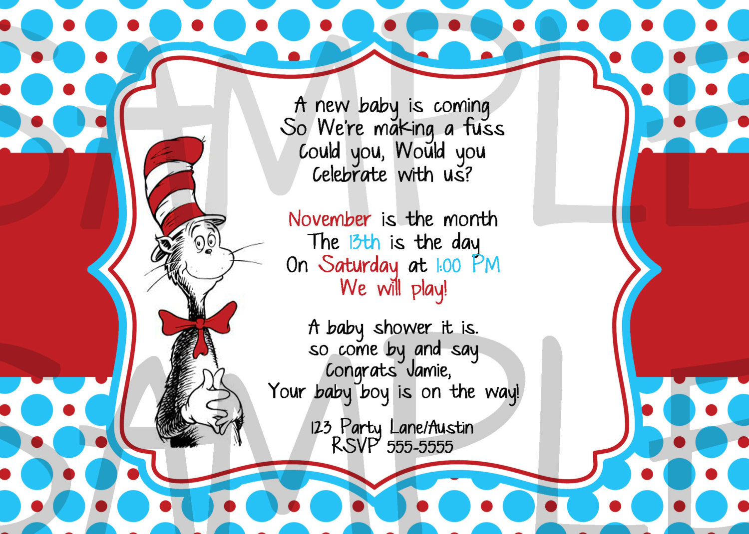 9 Images of Free Printable Dr. Seuss Baby Shower Invites