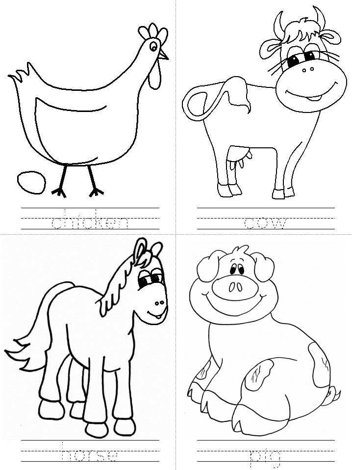 6 Images of Farm Animals Template Printable