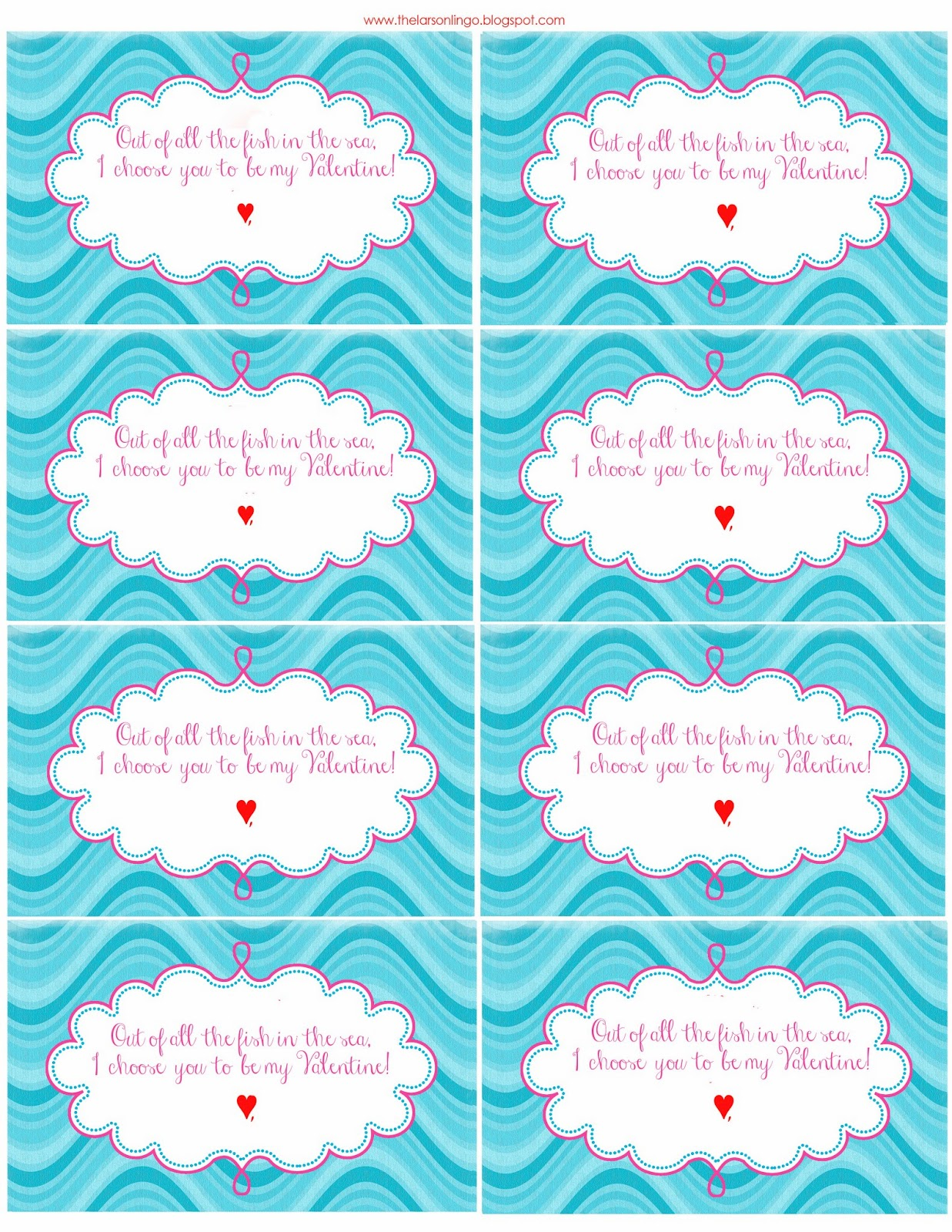7 Images of Fish Valentine's Printables