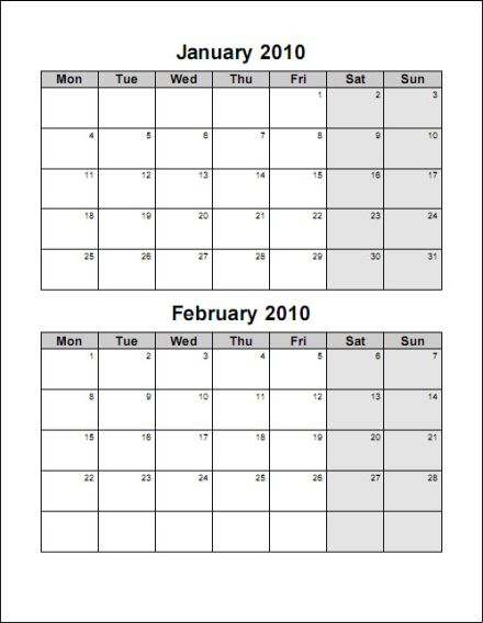 Free Printable Bi-Monthly Calendars