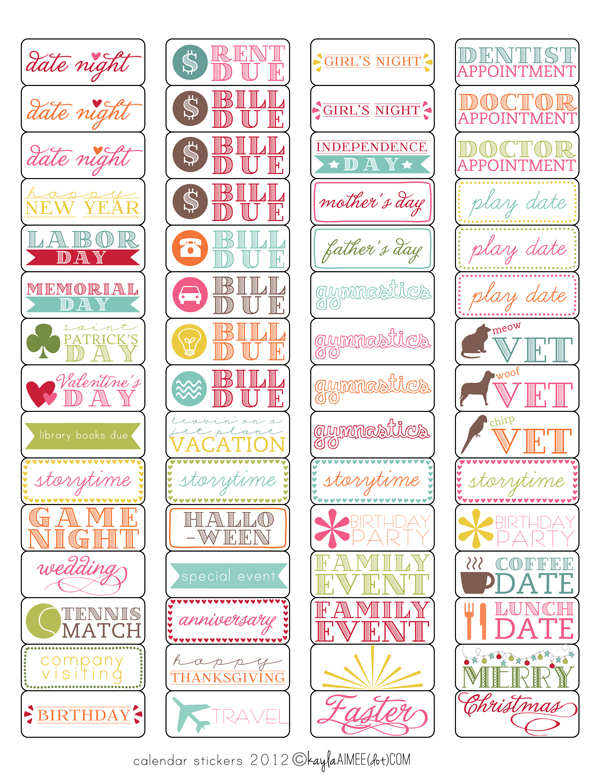 Free Printable Calendar Stickers