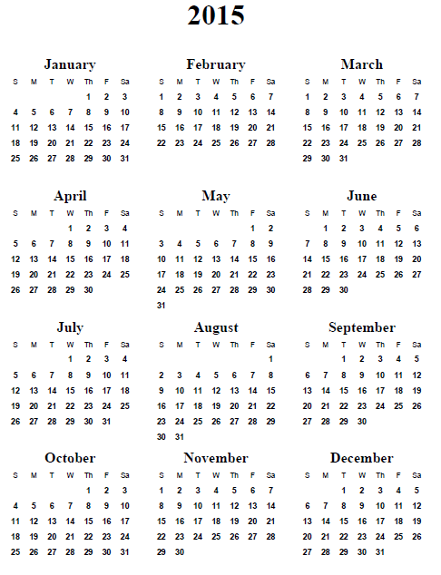 7 Images of Free Printable 2015 Yearly Calendar