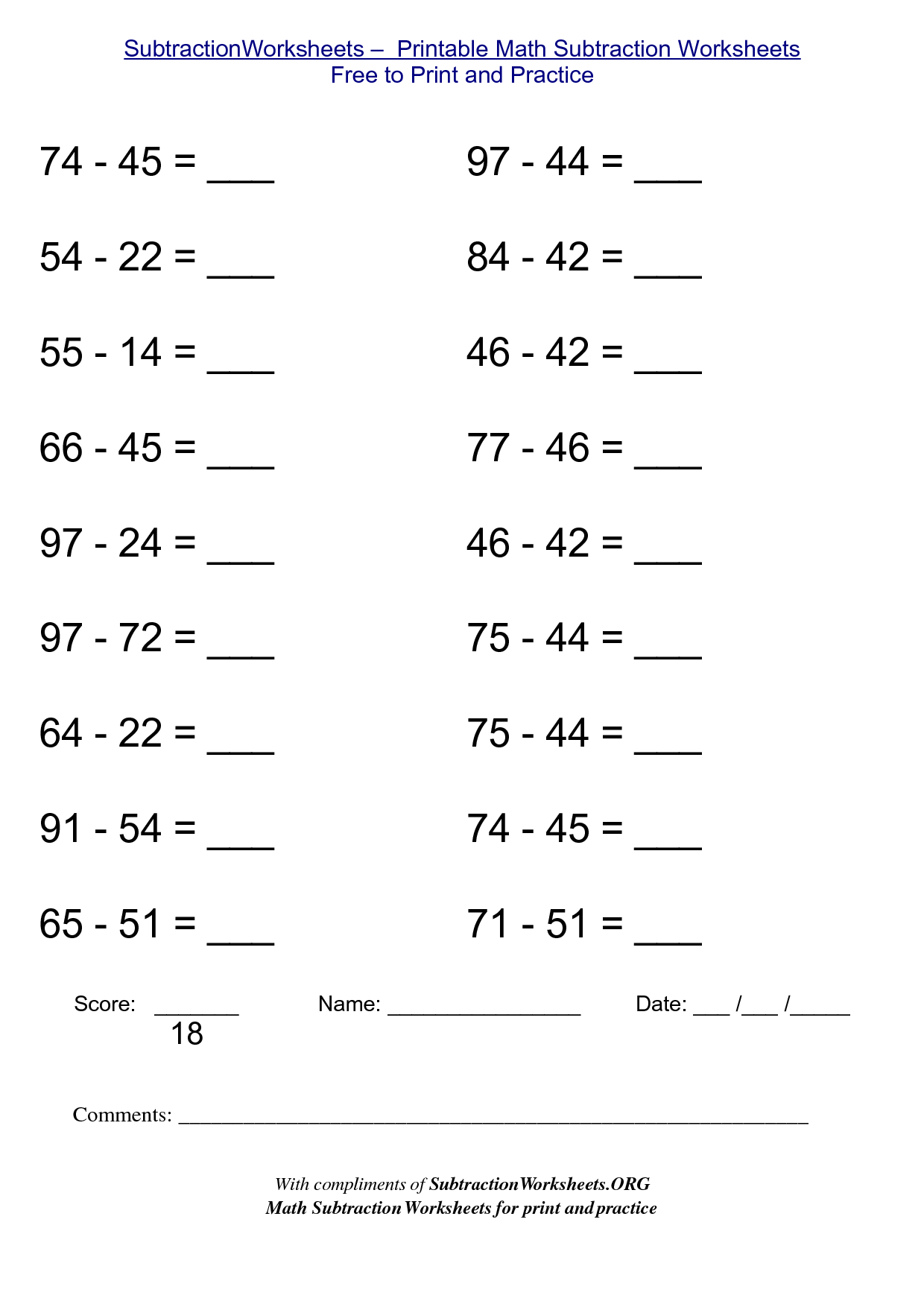 5 Best Images of Free Printable Math Sheets Subtraction – Best Math Worksheets