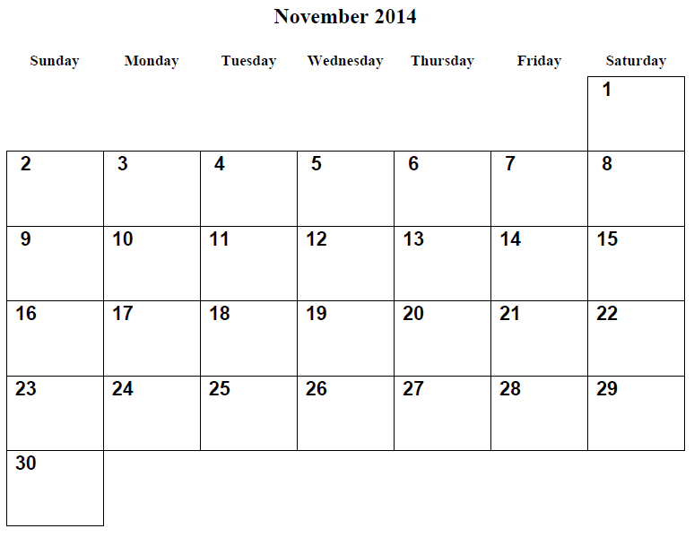 7 Images of Monthly Printable Calendars November 2014