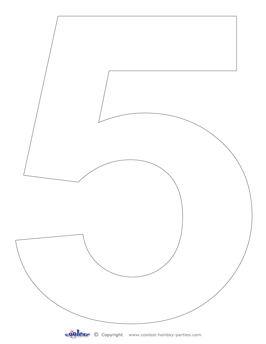 6 best images of printable number 5 free printable for Number 5 coloring page