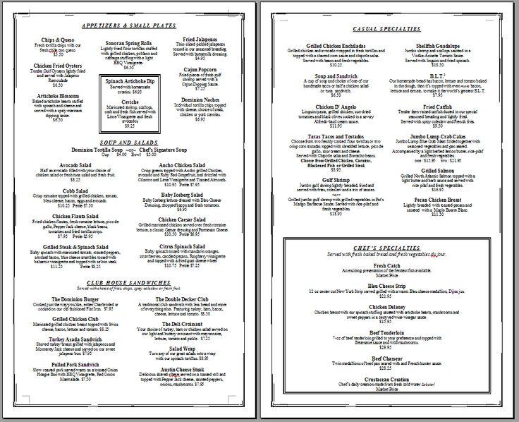 4 Images of Free Printable Restaurant Menus