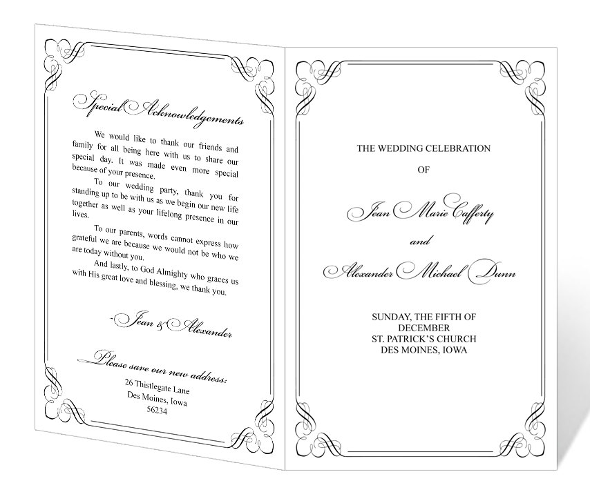 7 best images of printable wedding program templates for Templates for church programs