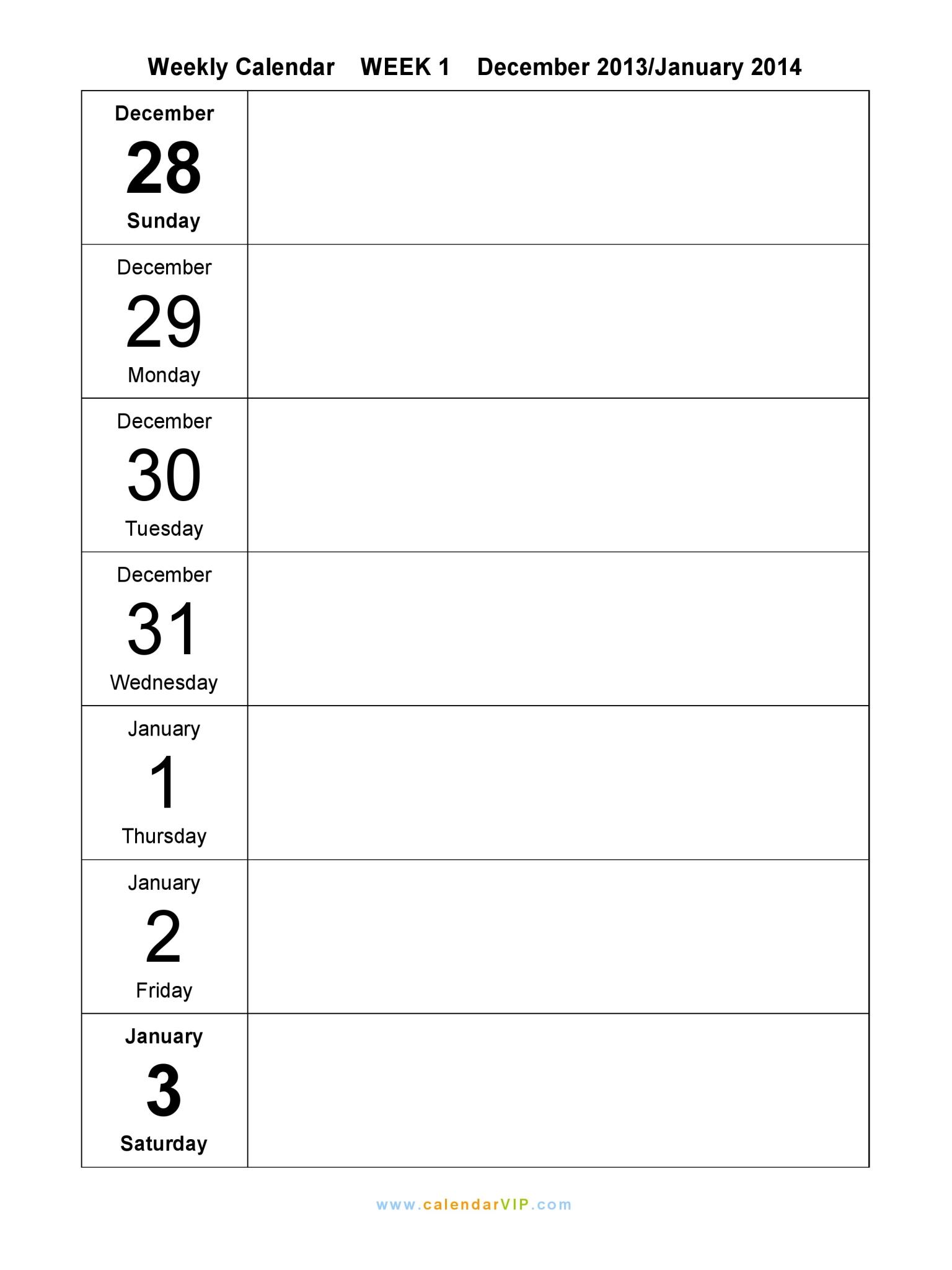 8 Images of Weekly Blank Calendar 2015 Printable