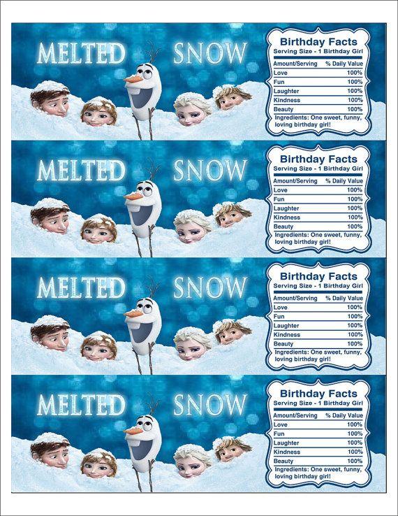 Frozen Water Bottle Labels Printable Free