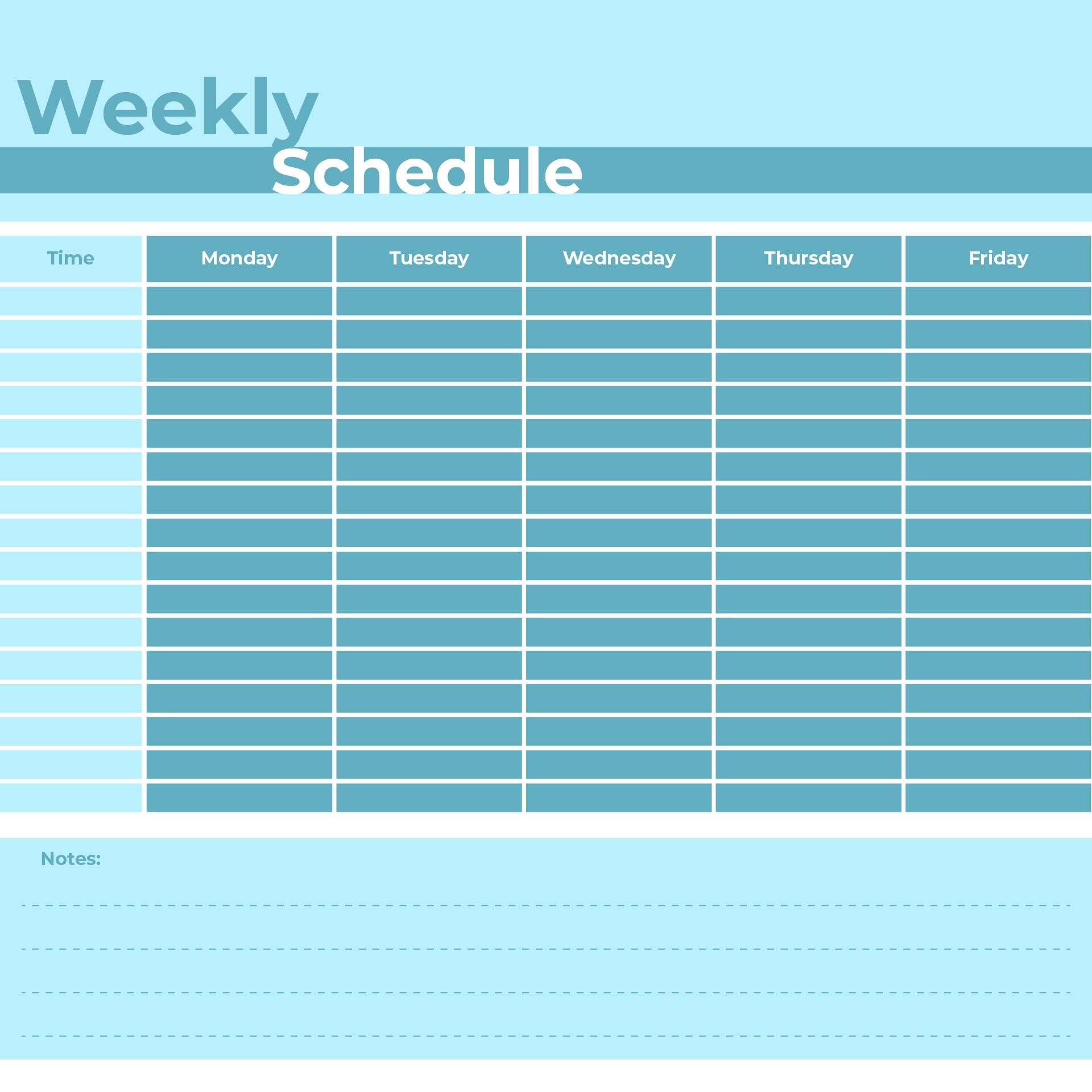 Monday through Friday Weekly Calendar Template