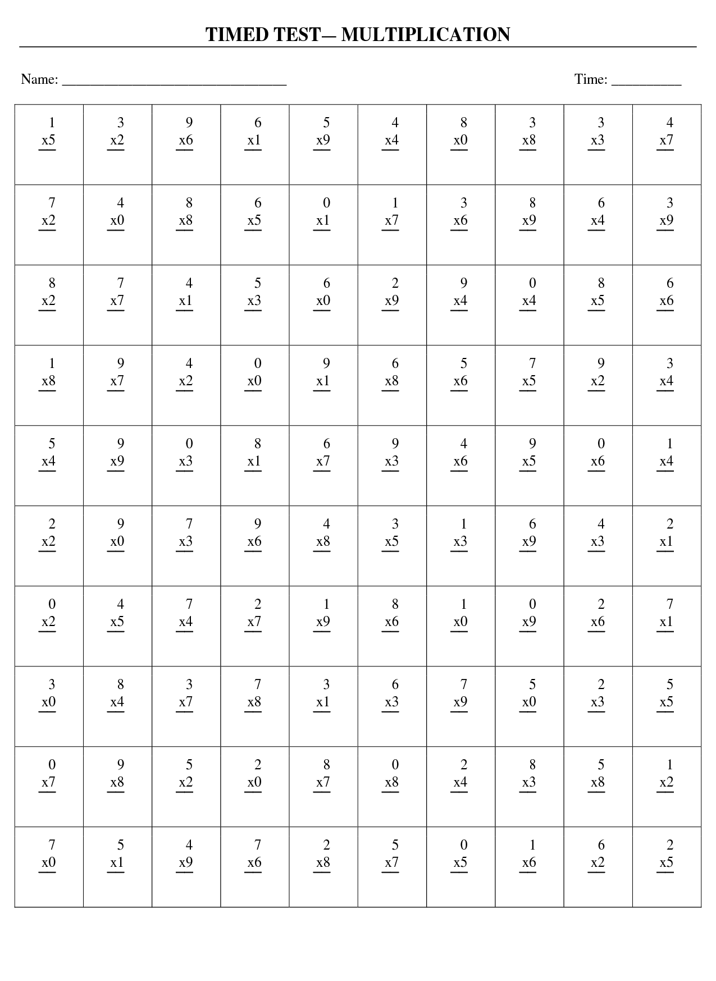 6 Best Images of Multiplication X4 Worksheet Printable ...