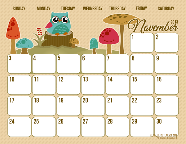 4 Images of Fall November 2013 Calendar Printable