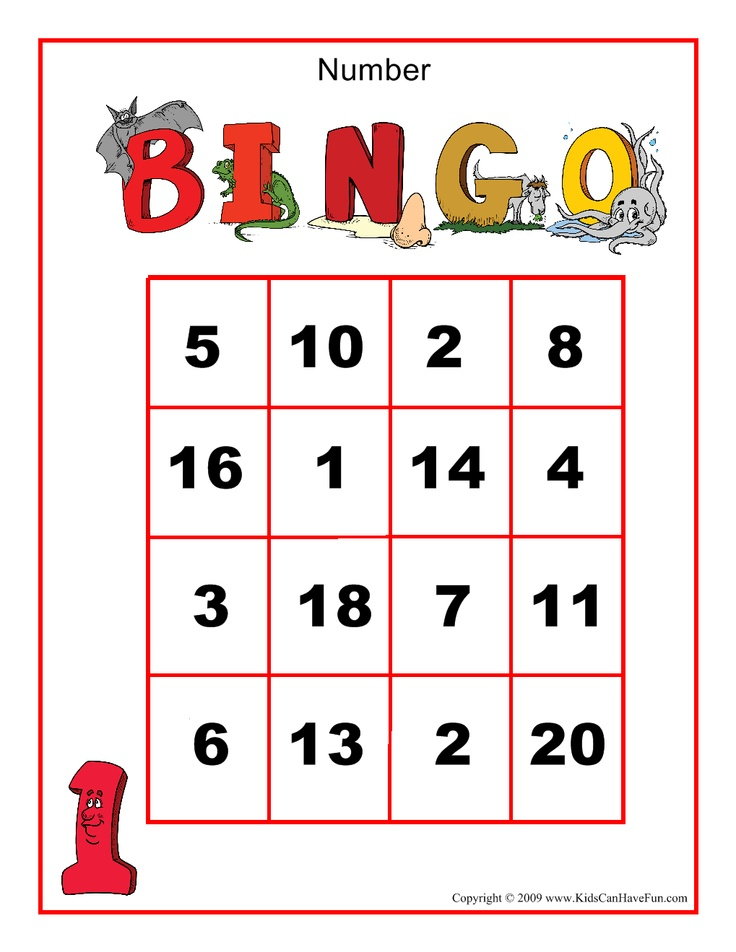 6 Images of Kindergarten Number Bingo Game Printable
