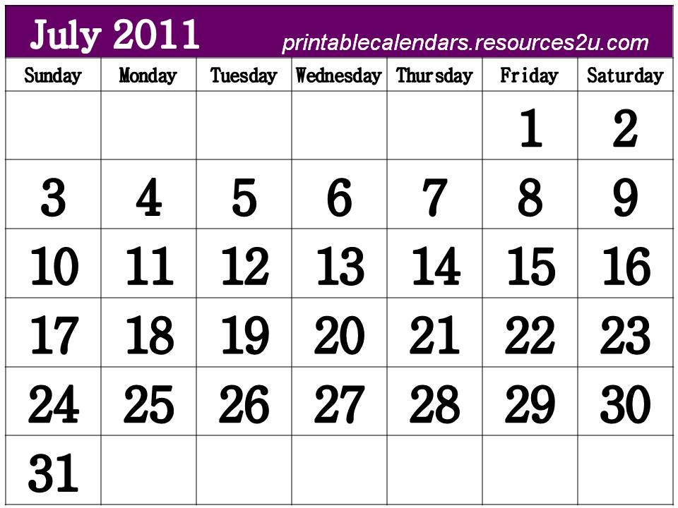 6 Images of Free Printable Calendar July 2011