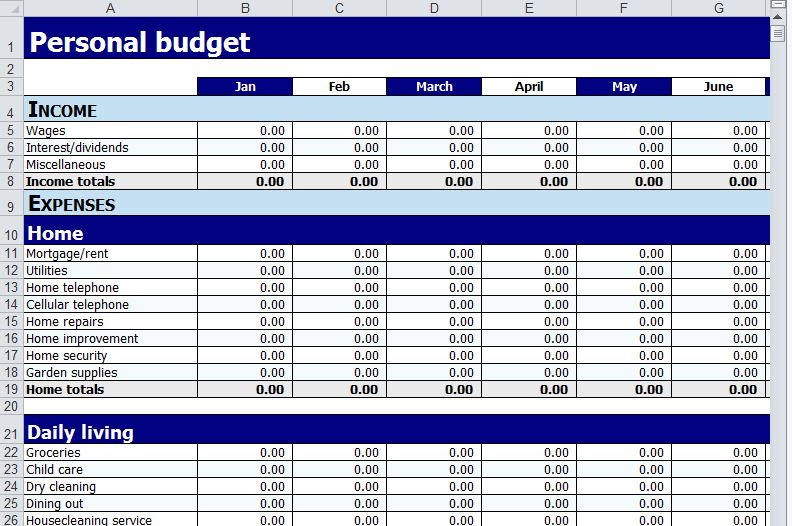 annual household budget template - 6 best images of printable monthly budget worksheet excel