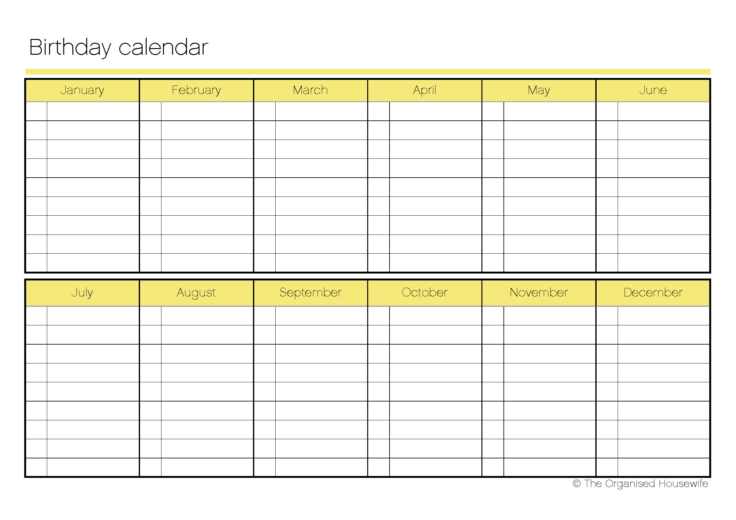 Blank Birthday Calendar : Best images of blank printable birthday calendar free