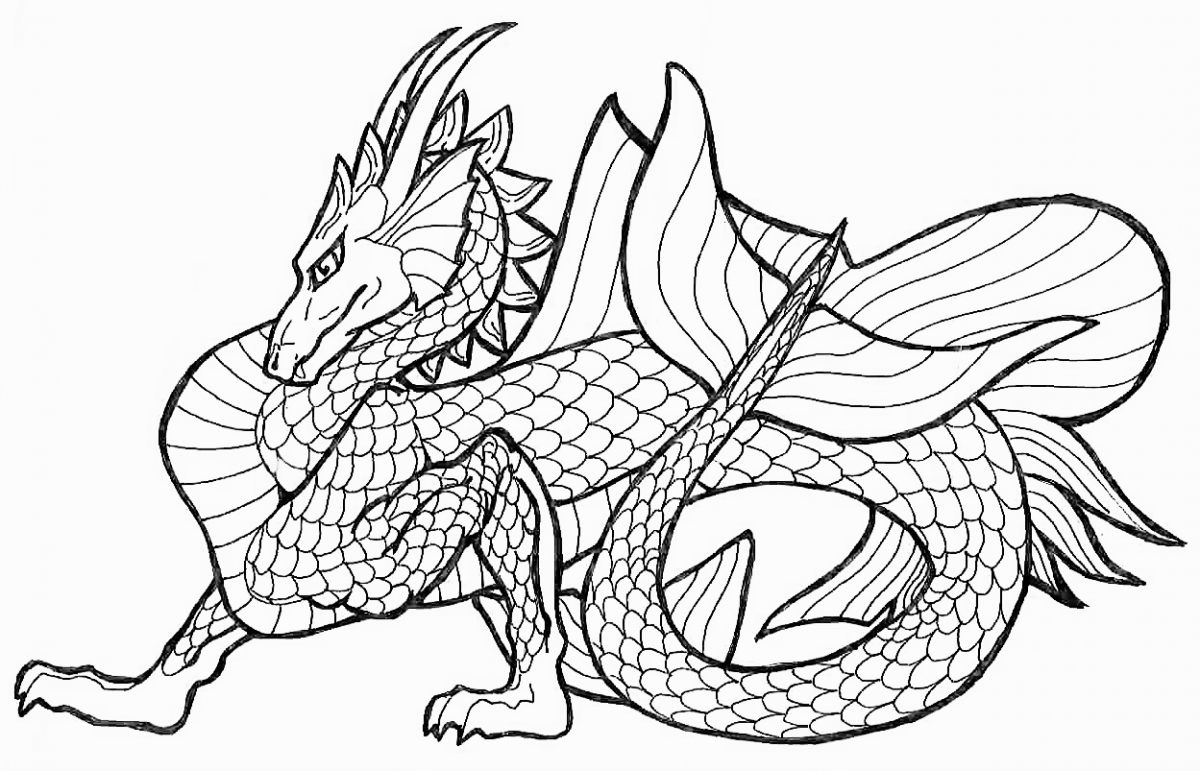 6 Images of Printable Dragon Coloring Pages For Adults